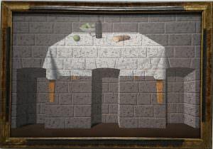 Magritte - Table sur mur briques