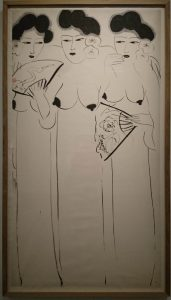 Sans titre (Femmes à l'éventail), vers 1975 - 1980 , encre sur papier