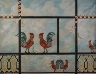'Les Coqs - En attendant l'aube', Paris, 2016 - Huile sur toile - H. 89 cm x L. 116 cm - Prix de vente : 1.250 euros