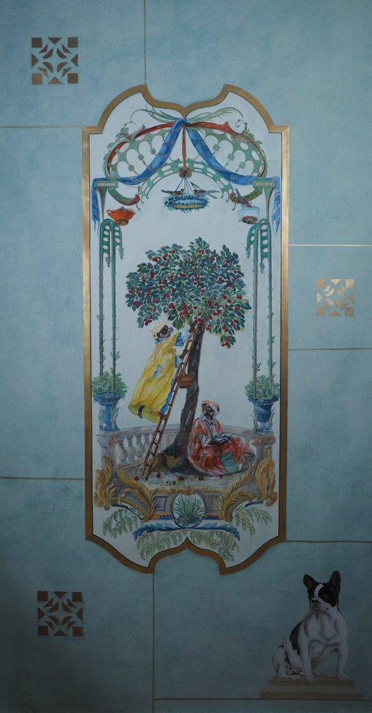 'Chinoiserie - Indra et le cerisier', Paris, 2017 -  Huile sur toile - H. 202 cm x L. 110 cm - Prix de vente :  1.850 euros