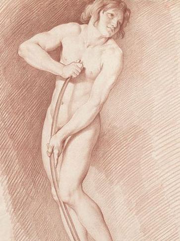 Bouchardon - Modèle posant pour L'Amour se faisant un arc de la massue d'Hercule  © RMN - Grand Palais (Musée du Louvre) / Thierry Le Mage