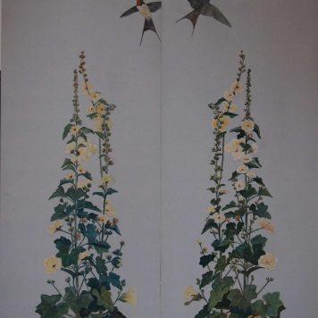 'Les Roses trémières ou célébration du Printemps' - Diptyque  Panneaux décoratifs ou paravent deux feuilles -  H. 150 cm x L. 45 cm