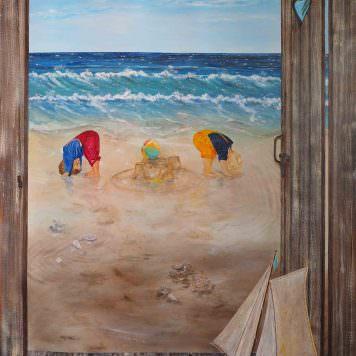 Enfants bord de mer - Acrylique sur toile 2,00 x 1,20 m