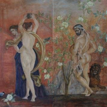 Fresque inspirée de décors pompéiens sur enduit sec - Dim. 160 x 150 cm