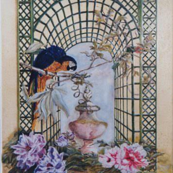 Le perroquet aux pivoines - Huile sur toile Dim. 61 x 50 cm