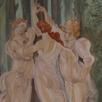 Les Trois Grâces, La Primavera, d'après Botticelli - Dim. 132 x 105 cm