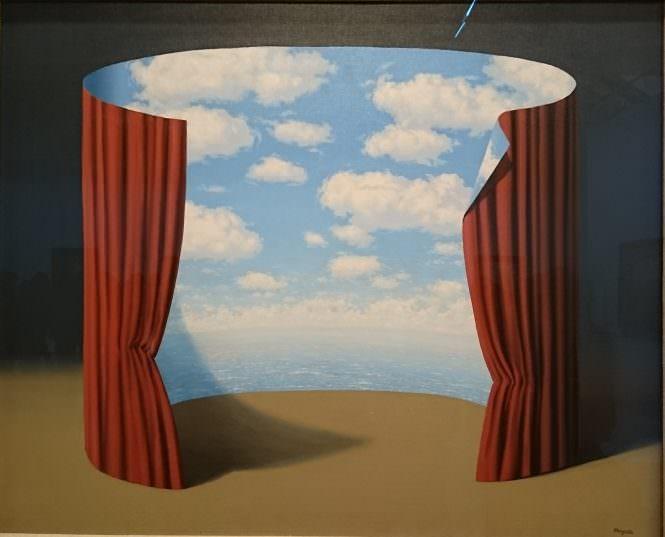 Magritte - Ciel rideau paravent circulaire