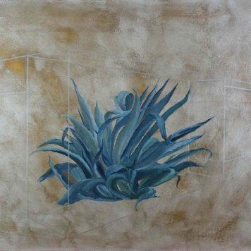 \\\'Cactus , principe A\\\', Paris 2016 - Technique mixte sur toile - H. 89 cm x L. 116 cm -