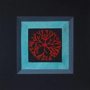 Composition de coraux avec encadrement par imitation de galuchat - Technique mixte - Châssis 40 cm x 40 cm
