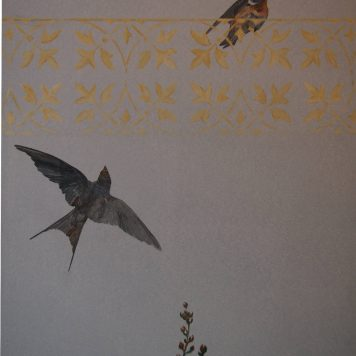 Diptyque - \'Roses Trémières - Détail Hirondelles - Panneau de Droite - Peinture à l\'huile sur bois -  H. 150 cm x L. 45 cm - Peut être monté en paravent deux feuilles