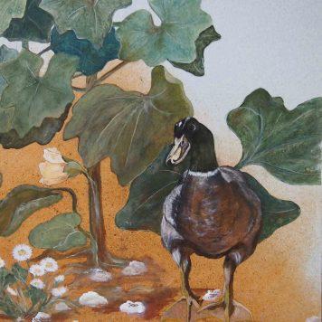 Diptyque - \'Roses Trémières ou \'La Célébration du Printemps\' - Détail Canard - Panneau Droite - Peinture à l\'huile sur bois - H. 150 cm x L. 45 cm - Peut être monté en paravent deux feuilles