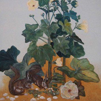 Diptyque - \'Roses Trémières ou \'La Célébration du Printemps\' - Détail Ecureuils - Panneau Gauche - Peinture à l\'huile sur bois - H. 150 cm x L. 45 cm - Peut être monté en paravent deux feuilles