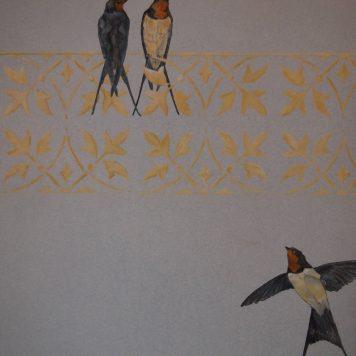 Diptyque - \'Roses Trémières - Détail Hirondelles - Panneau Gauche - Peinture à l\'huile sur bois - H. 150 cm x L. 45 cm - Peut être monté en paravent deux feuilles