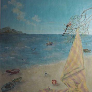 Module \\\'Drapé et la mer\\\' - Huile sur kraft H. 194 cm x L. 114 cm