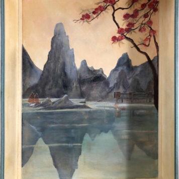 Impression Indochine -  Huile sur panneau de bois -  Coffret de présentation pour une maquette de bateau -  H. 120 cm x L. 80 cm
